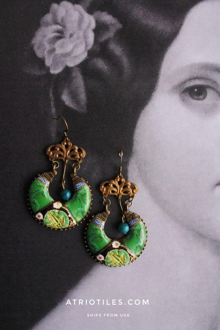 Portugal Antique Azulejo Tile GREEN Chandelier Earrings from Caldas da Rainha Bordallo Pinheiro Geometric Persian Toad Frog Ceramic