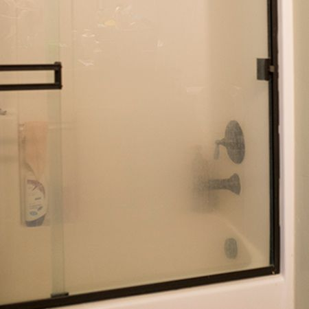 Most shower doors suffer from a built up of hard water, lime scale or soap scum. This reveals itself as an opaque haze on glass that can be difficult to remove.