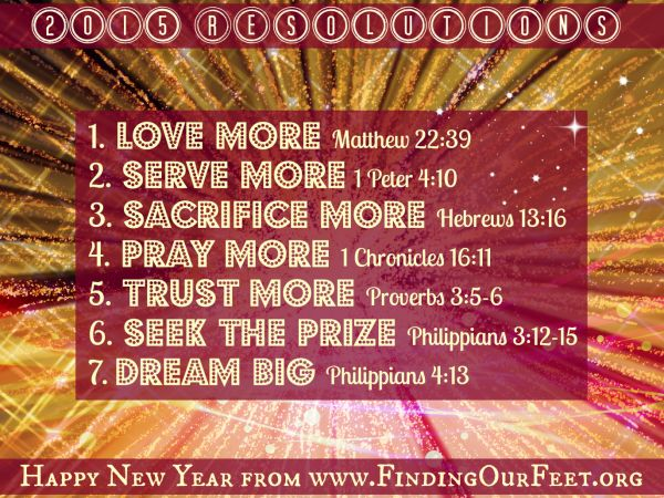 2015 Resolutions, reflections and recommendations to help you reach your goals. Find out how FindingOurFeet.org can help!