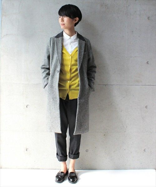 this grey topper, yellow cardigan, button up shirt, cuffed trousers and loafers. <3