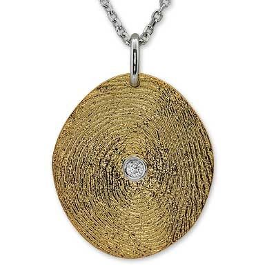Pırlanta 18 ayar Altın Parmak İzi Kolye Lilian, özel tasarım kolye, hediye kolye, parmak izi koleksiyonu