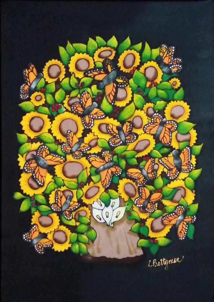"Arbol De La Vida, Painting on Charmeuse Silk, Framed, 25""x33"""