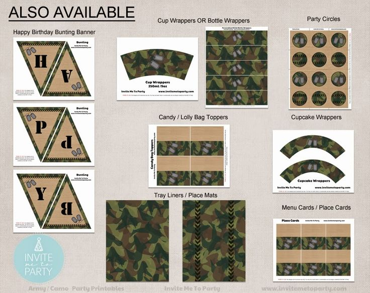 Army Party Decorations | Camo Party Decorations Invite Me To Party: Army Invitation | Camo Party