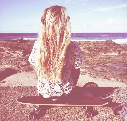 Skateboards, Blondes, Long Hair, Beachhair, Longhair, Summer, Lace Shirts, Longboards, Beach Hair