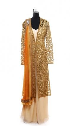 Gorgeous full length jacket with an unique gold cutwork Aari handworked with heavily beaded embroidery.    Indian designer Raakesh Agarvwal concentrates his designs on glamorous, opulent, rich and complex garments in the categories Indian couture and ready to wear. Strand of Silk (strandofsilk.com) offers a gorgeous selection of Indian wedding ouftis: Bridal Sarees, Wedding Lehengas and Indian dresses designed by one of India´s most notable designers Rakesh Agarvwal.