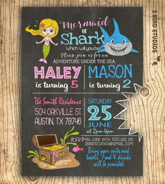 Mermaid & shark sibling invitation Dual birthday by 2birdstudios