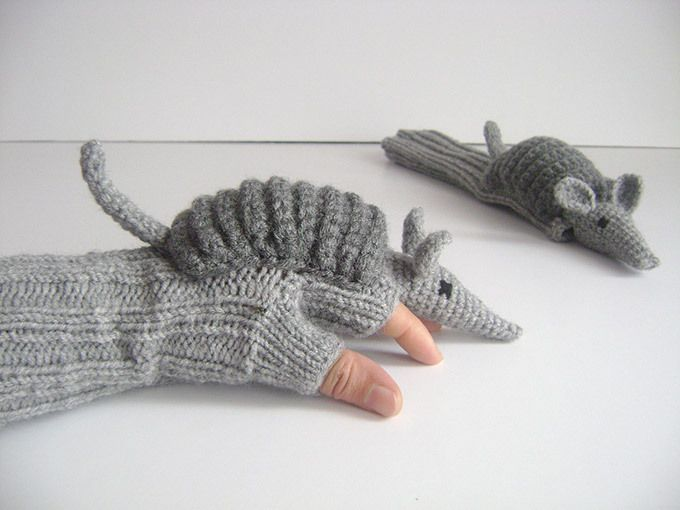 Aww … knitted armadillo gloves!