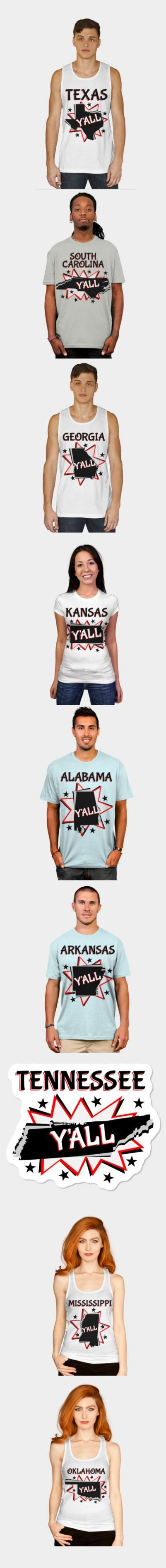 Southern state y'all. T-shirts, mugs and stickers in the shape of the southern states. These are on top of comic book style starburst. Texas, Kansas, South Carolina, Arkansas, Mississippi and more