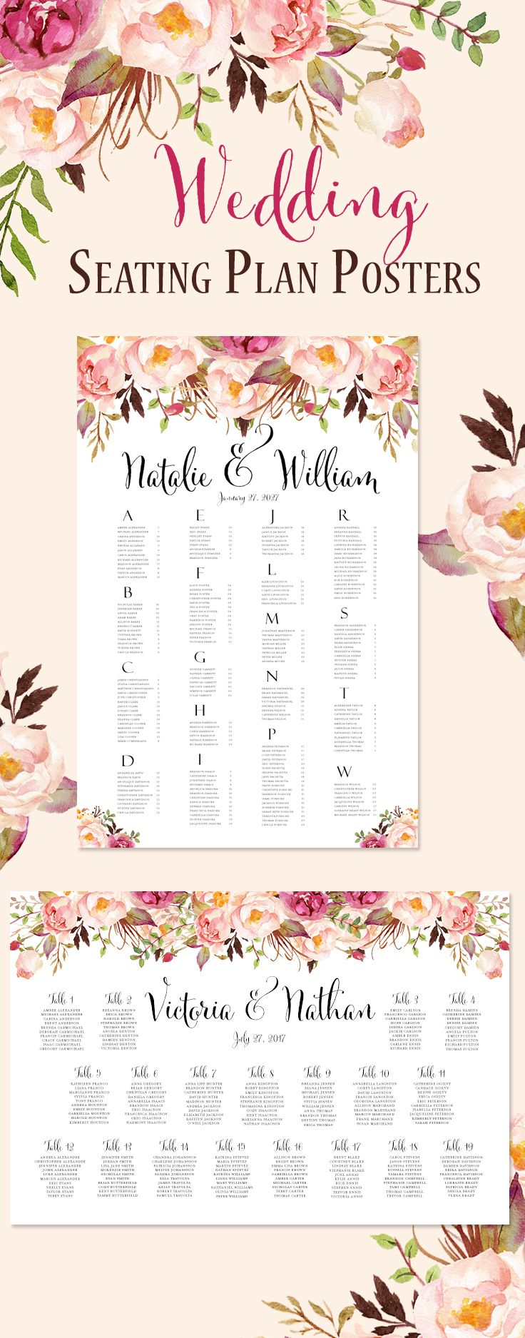 Reception Seating Chart Posters Print Ready, Floral Seating Plan, Romantic Blossoms.