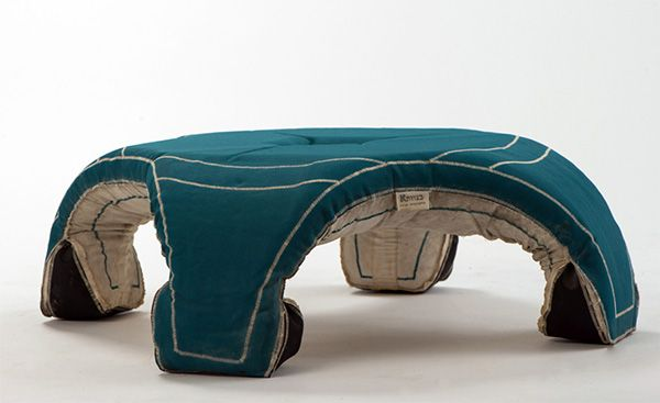 Titled 'Betzavta', the series of chairs and tables comes in the form of flat canvas bags containing a concrete powder mixture.