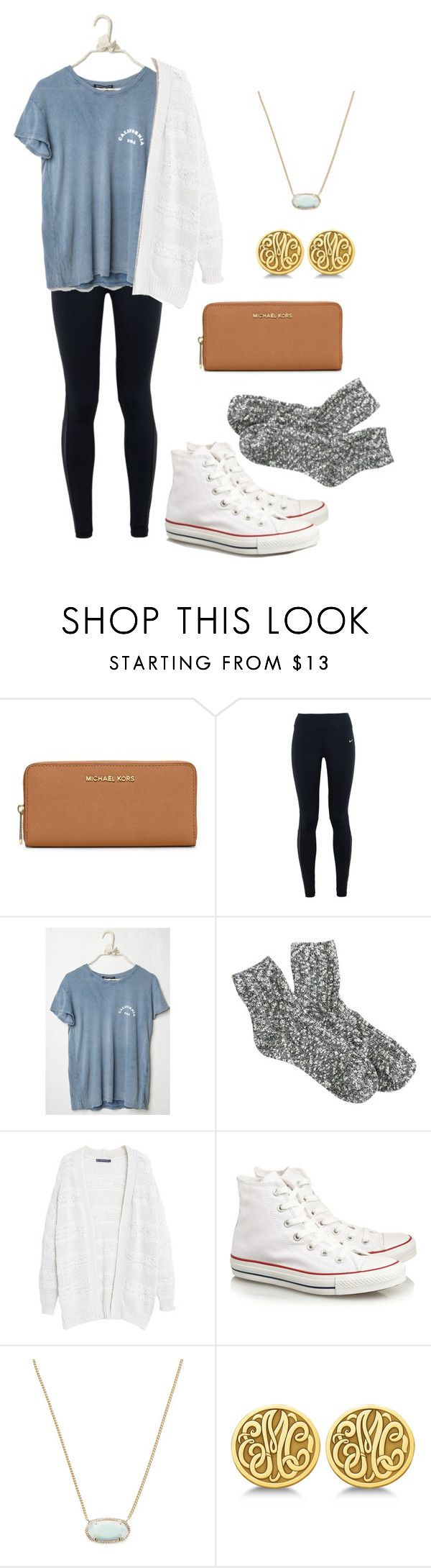 Too cute for school by vineyard-vines-love ❤ liked on Polyvore featuring MICHAEL Michael Kors, NIKE, J.Crew, Violeta by Mango, Converse, Kendra Scott and Allurez