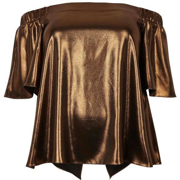 River Island RI Plus bronze metallic bardot top ($34) ❤ liked on Polyvore featuring tops, plus size brown tops, short sleeve tops, womens plus tops, river island and brown tops