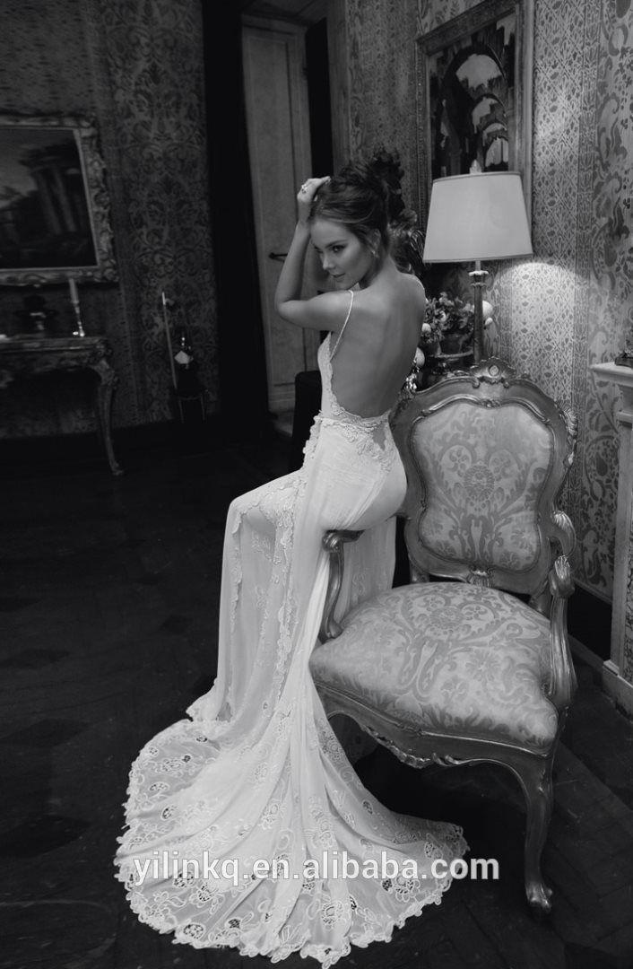 Informações sobre 2014 Sexy rendas espanhol luxo Appliquies império Inbal Dror vestidos de noiva