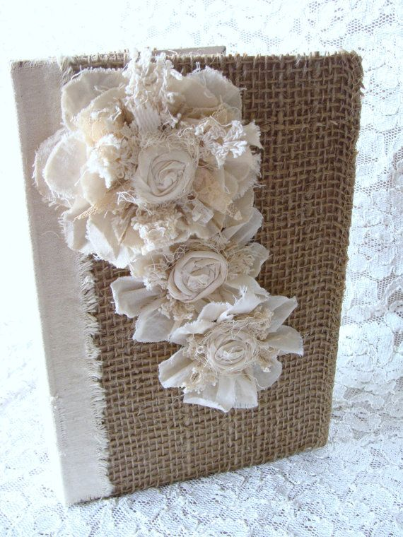 Rustic Burlap Lace Fabric Collage Handmade Tattered Shabby Chic Flowers Journal…