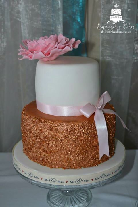 Gold sequin effect wedding cake, with handmade pink peony. More at www.facebook.com/emmazingcakes