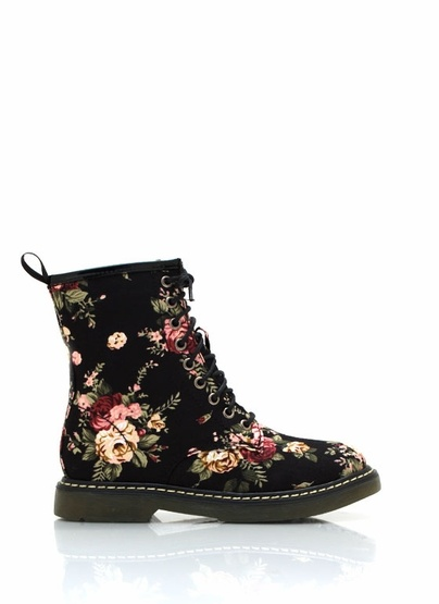 floral combat boots:  Doc Marten knock-offs for $38.00? Yes, please!