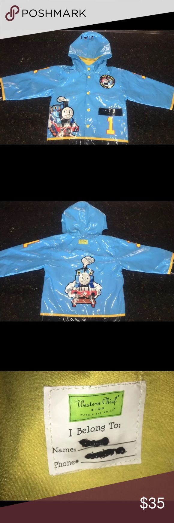 Thomas the Tank Engine Train Sz 4/5 Thomas the Train Engine Excellent condition rain jacket by Western Chief.   Sz 4/5 unisex  Full snap up front  Hooded  One pocket on outer front.  Outer rain shell and inner lining  Inner name label you just need to put a sticker label over .  Extremely well made. Western Chief Jackets & Coats Raincoats