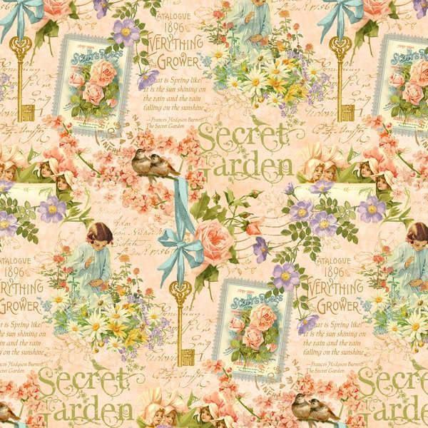 ** Secret Garden - Posy Patch in Peachy Pink-Secret, Garden, Wilmington, Fabric
