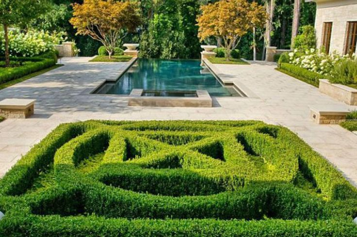 Le jardin d'une propriété de luxe à Atlanta visitée par Justin Bieber.