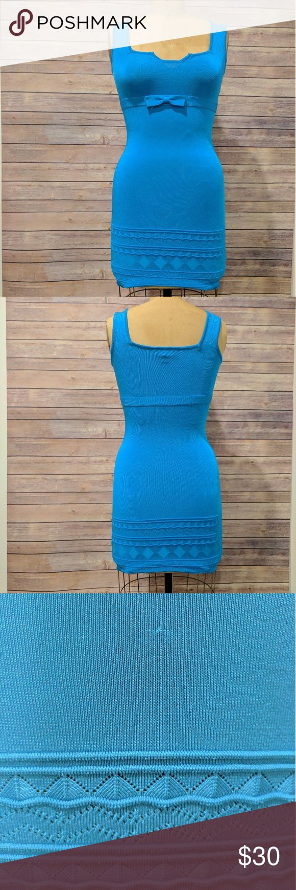 Bebe bandage dress Gently wore, great condition. Blue bandage dress from Bebe. Cute ribbon on the front and beautiful bottom design. One minor snags on the lower front(see pic3) otherwise perfect condition. Size small. Perfect color for summer! bebe Dresses Mini