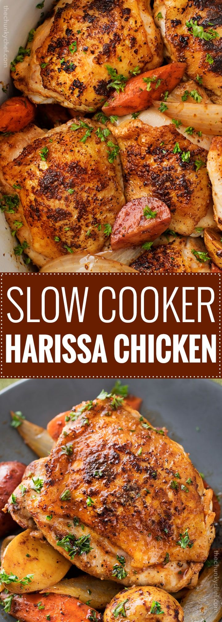 This slow cooker Harissa chicken is absolutely brimming with bold, spicy flavors! Chicken thighs, potatoes, carrots, and onion are slathered in a rich spice mix and then made easily in the crockpot!   #slowcooker #crockpot #chickenrecipes #harissa #weeknightmeal