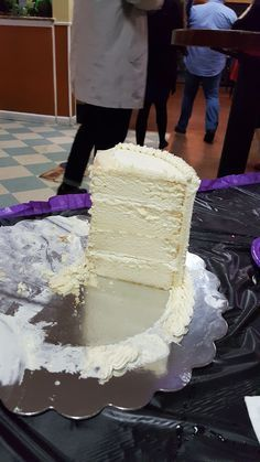 I made my daughters wedding cake using this recipe. It turned out fantastic. The texture is just perfect for a wedding cake - not too fluffy so it breaks from the weight, but also not overly dense. The flavor, texture and moistness were just right. I made two batches of the batter for a three-tiered wedding cake using 14, 10 and 6 pans that were 3-inches deep. I had enough extra batter for a 9 layer (not a deep pan). This recipe was originally created by Rebecca Sutterby.