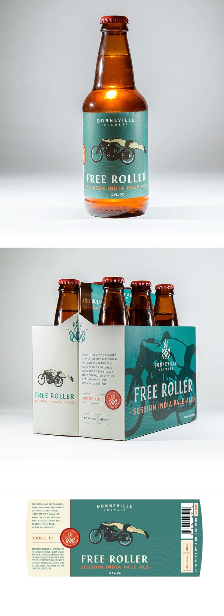 Free Roller Label and Box design by Epic Marketing for Bonneville Brewery. #packagingdesing #graphicdesing #labeldesign #beer #beerlabel