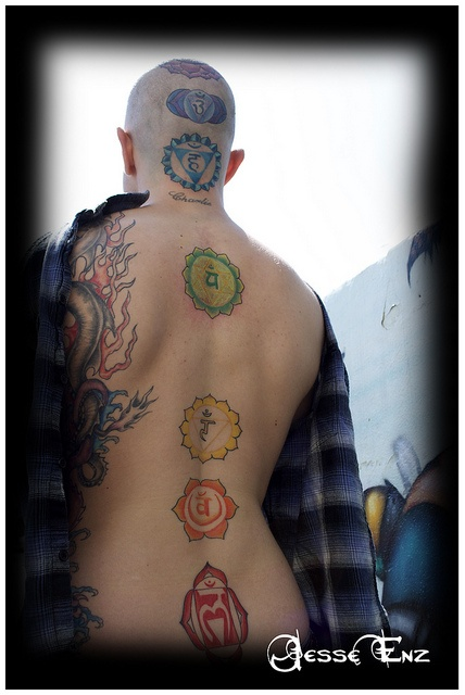 My back in a few years. Except the chakras are smaller, and I'm trying to balls up the courage to shave my head for the final two.