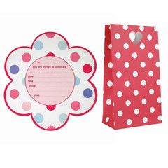 Miniamo Girls Party Invitation Set - Floral Polkadot Pastels | Paper Products Online