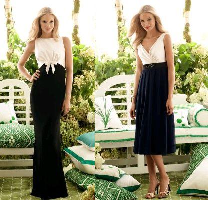 evening wedding dress: Black and White Bridesmaid Dress Designs Ideas
