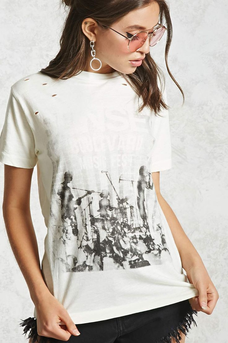 """A soft knit tee featuring a front """"Sunset Boulevard Music Fest"""" graphics, distressed detailing throughout, a crew neckline, and short sleeves."""