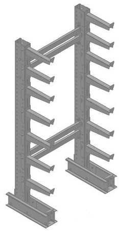 Single-Sided Cantilever Racks Starter Cantilever Rack,1 Side,7 ft. H by VALUE BRAND. $593.65. Cantilever Rack Starter Unit, Number of Sides 1, Starter Unit, Height 7 ft., Arm Length 14 In., Capacity per Arm 500 lb., Base Length 23-1/2 In., Center Brace Length 35 In., Capacity 7000 lb., Number of Arms 14, Rack Size Width 38 In., Max. Arms per Side 14, Rack Size Depth 21 In., Arm Type Straight, Capacity per Unit 7000 lb., Arm Steel Gauge 11, 11 Column Steel Gauge, Finish Gra...