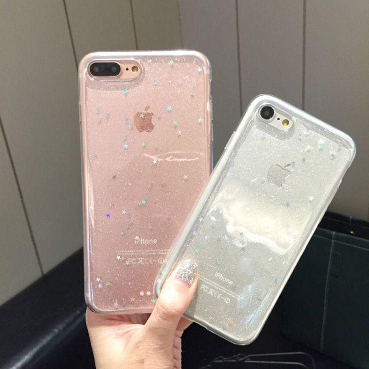 Simple Harajuku Teen Fashion Shinny Glitter Star Transparent Hard Slim Back Cover For iPhone 6 s + 7 7plus Hot Cute Phone Cases #iphone6spluscase,