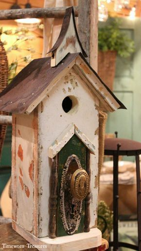 Locally handmade birdhouses made of 100% reclaimed pieces. Each birdhouse is one of a kind and has amazing character. #buildabirdhouse