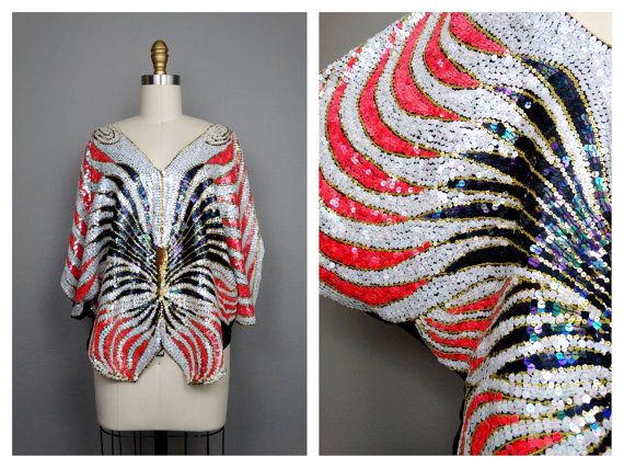 VTG Art Deco Sequined Blouse by Neil Bieff & Saks Fifth Avenue // Fluorescent Pink and Iridescent White Sequin Butterfly Beaded Top