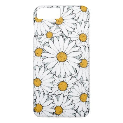 Modern Chic Ornate Daisy Floral Pattern Watercolor iPhone 8 Plus/7 Plus Case - retro gifts style cyo diy special idea