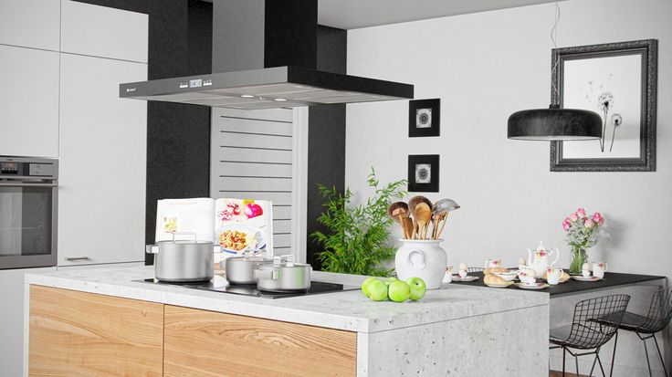 Wyspa kuchenna z okapem Nomina Isola Black, www.globalo.pl