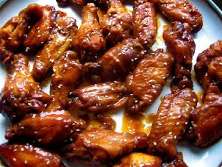 Crock Pot Asian BBQ Wings- mine didn't look as pretty but they tasted great! And I tossed them in frozen which is always a perk!!