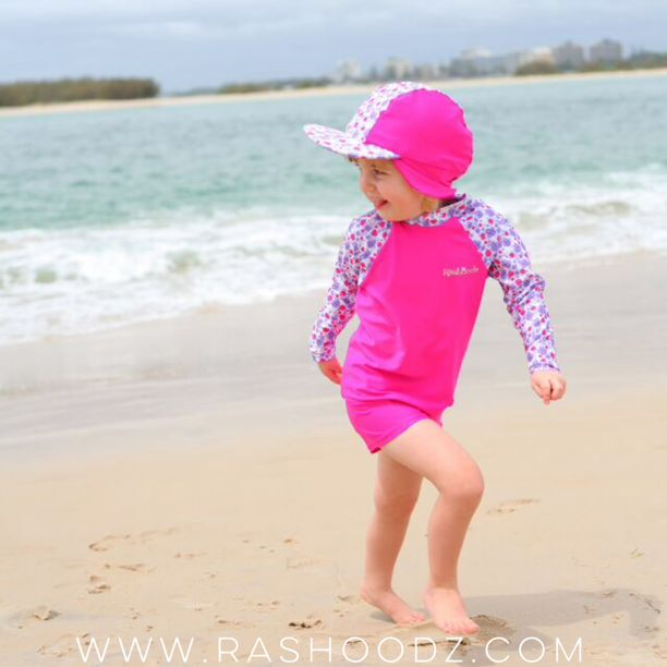 Summer is coming! How cute are these pink swimmers and matching swim hat! Available at www.rashoodz.com.au