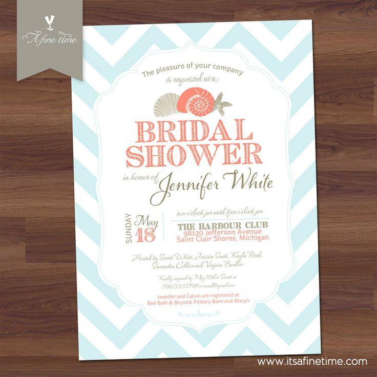 blank beach bridal shower invitations%0A Beach Bridal Shower Invitation Chevron Nautical by ItsAFineTime