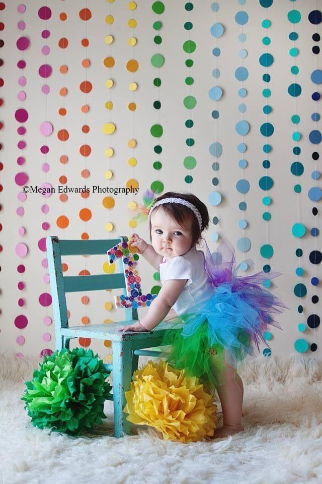 Rainbow birthday party, rainbow backdrop, rainbow circles  Megan Edwards Photography | Delaware Ohio Photographer