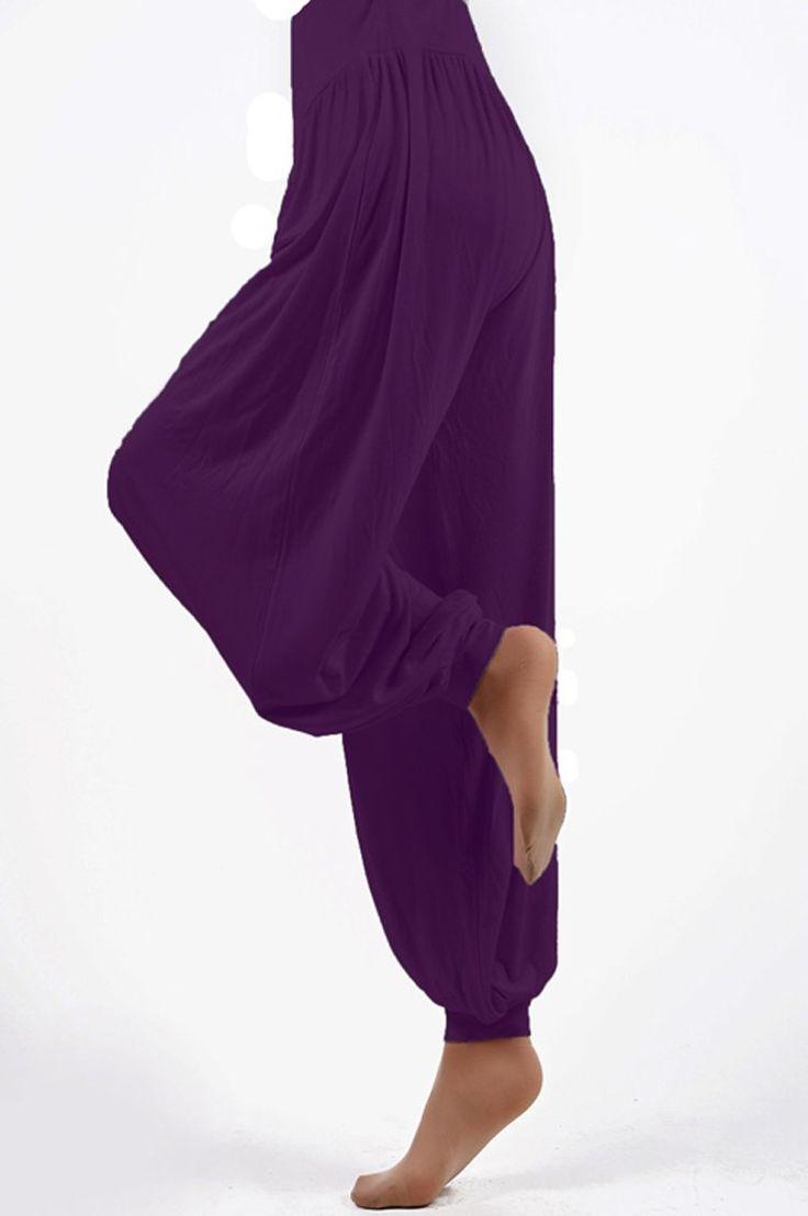 Pantaloni lunghi da yoga pilates fitness stile harem in cotone - EGLEMTEK® TM (Viola, M): Amazon.it: Sport e tempo libero
