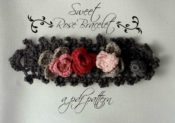 Crocheted Sweet Roses Bracelet PDF Pattern  photo di sewella