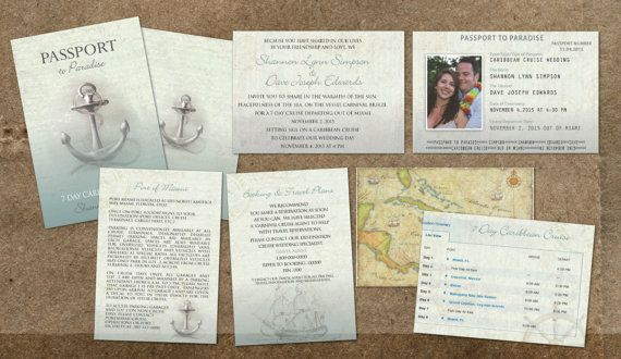 Cruise Passport Wedding Invitations  Nautical at Sea