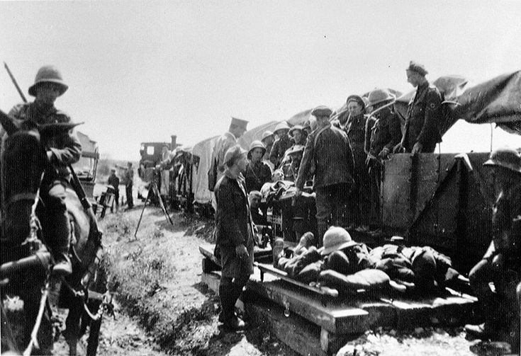 Wounded being sent to hospital on a light railway, 1916, Salonika. Although there were many patients with wounds caused by combat, thousands of British soldiers were hospitalised during the Salonika campaign by diseases like malaria. National Army Museum, London