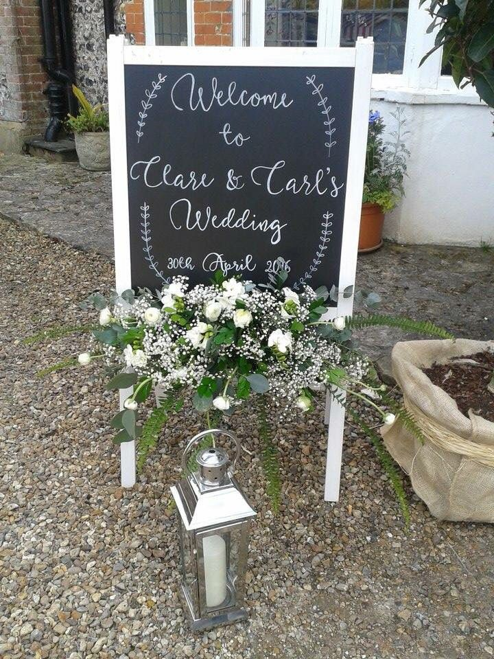 Our handmade welcome sign- courtesy of an IKEA hack!