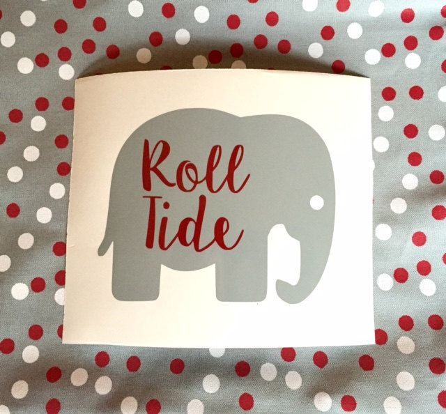 Roll Tide Elephant Decal, Car Decal, University of Alabama Decal by TheCheekyGreek on Etsy