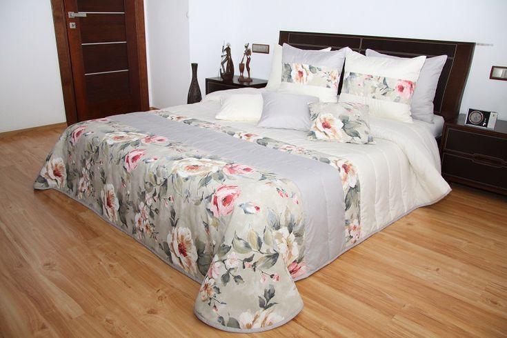 Kremowo szare eleganckie narzuty na łóżko w kolorowe kwiaty