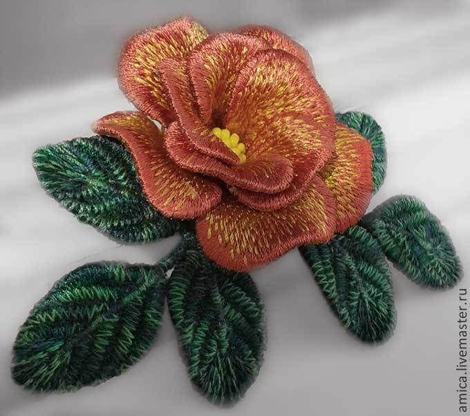 Купить Брошь.Вышивка. Мальтийская роза. - брошь, брошка, роза, украшение, небольшая брошь, цветок