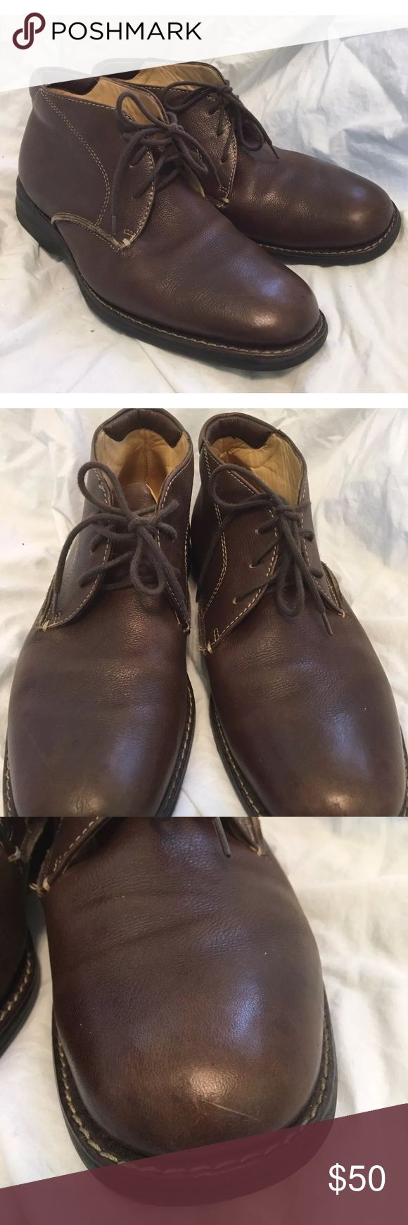 Johnston & Murphy Brown Leather Chukka Boots 8.5 Very good condition. Have some scuffs/scratches see pictures. Sole could use a more thorough cleaning. Johnston & Murphy Shoes Chukka Boots